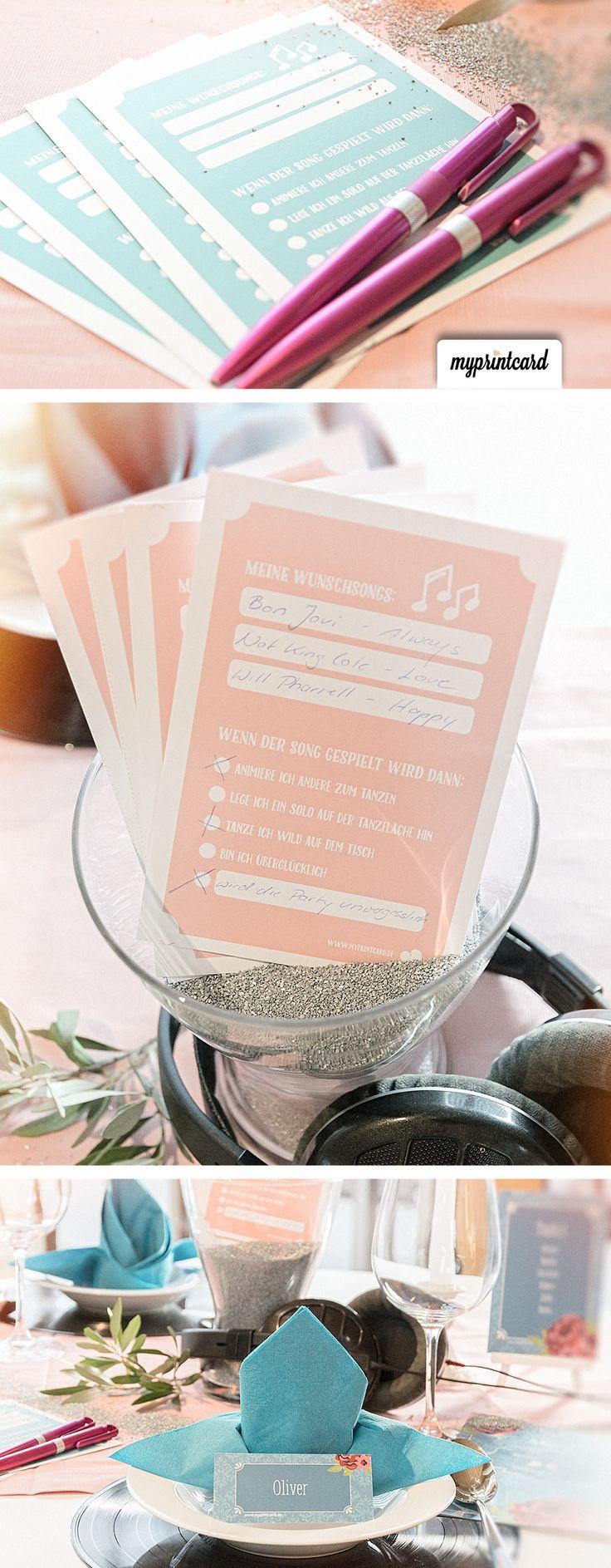 Mit Musikwunschzetteln wird die Hochzeitsparty zum Knaller! Wir haben ein tolles Freebie zum selber Ausdrucken vorbereitet! #musikwunschkarten #freebie #kostenlos #ausdrucken #selbermachen #doityourself #diy #hochzeit #party #wedding #braut #bräutigam #feiern #hochzeitsfeier #musik #dj #band #langeweile