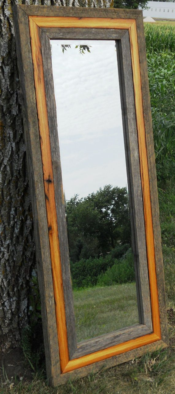 Reclaimed Barn Wood Full Length Standing Beveled Mirror by lstalz, $450.00