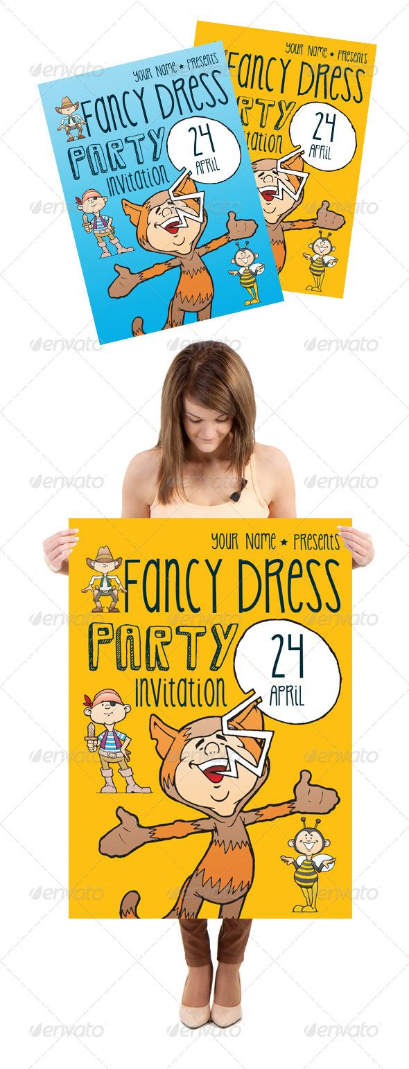 Fancy Dress / Costume Party Invitation #GraphicRiver Great design for your party invitation, poster. Easy to change text and Background colour. Extra separate character design inside flyer. A4 size available 8.27×11.69 inches Font Used: Saviam Shadow – .dafont /savia-shadow.font KG Skinny Latte – .dafont /kg-skinny-latte.font Any questions ? Feel free to contact me. Created: 11November13 GraphicsFilesIncluded: PhotoshopPSD Layered: Yes MinimumAdobeCSVersion: CS PrintDimensions: 8.2x11.6…