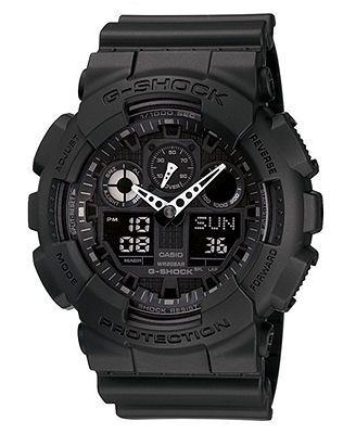 G-Shock Men's Black Resin Strap Round 55mm Watch GA100-1A1