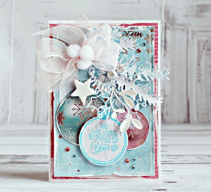 christmas ornament card, pine branch die, star, bow, Kaisercraft - Silver Bells…