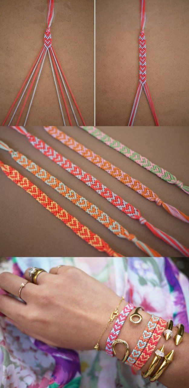 A heart bracelet is one of the classic friendship bracelets patterns.