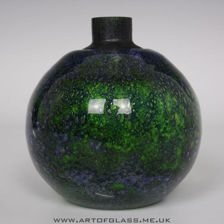 Randsfjord blue green glass vase by Benny Motzfeldt