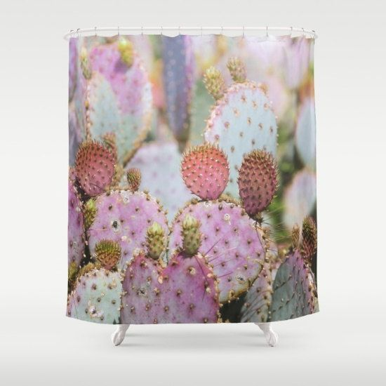 southwestern shower curtain cactus shower curtain by DreameryPhoto