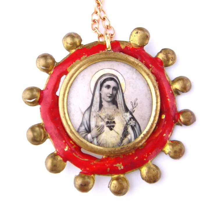 Antique Our Lady Virgin Mary Necklace Pendant Brooch Pin Christian Catholic Old #Unbranded