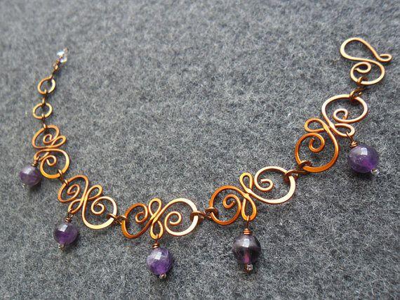 Bracciale in rame - filo di rame primavera fiore combinato viola ametista - rame gioielli - gioielli di legare