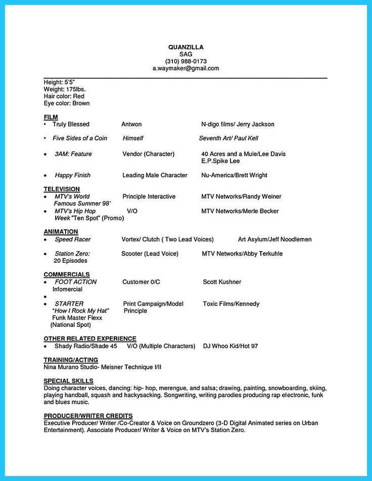 594 best Resume Samples images on Pinterest Resume templates - theatre resume examples