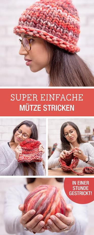 Strickanleitung für eine einfache Mütze mit Rollborte, Stricken für Anfänger mit LANGYARNS / easy knitting tutorial with chunky yarn via DaWanda.com