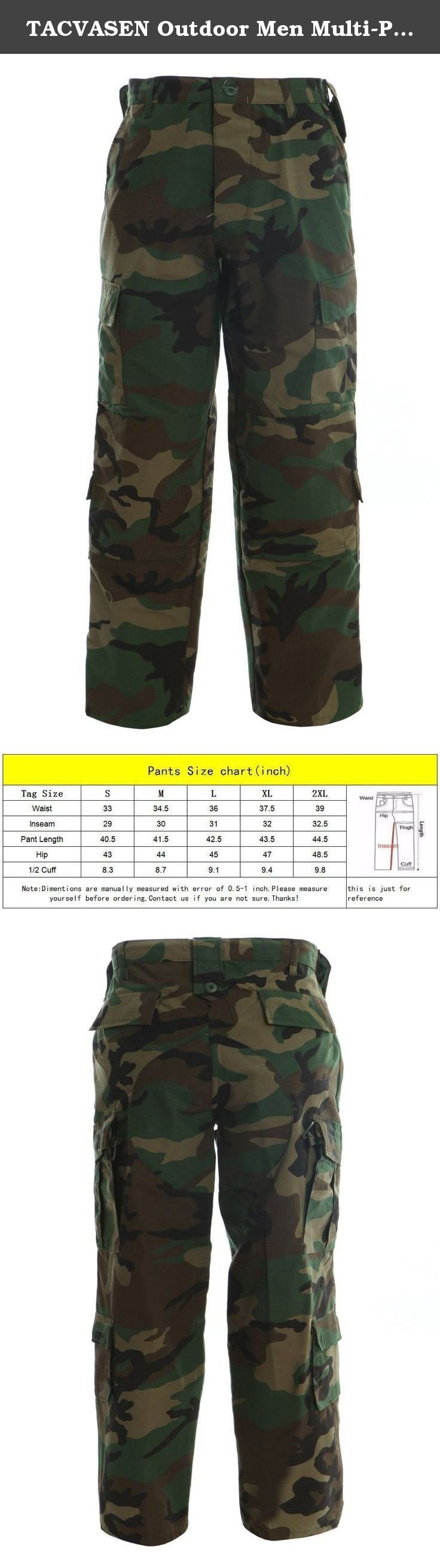 """TACVASEN Outdoor Men Multi-Pocket Breathable Climbing Hiking Hunting Pants Trousers 2XL Jungle. SIZE CHART: (Inches) Tag size:S-----Waist/33.0""""---Pant length/40.5""""---Inseam/29.0"""" Tag size:M-----Waist/34.5""""---Pant length/41.5""""---Inseam/30.0"""" Tag size:L-----Waist/36.0""""---Pant length/42.5""""---Inseam/31.0"""" Tag size:XL----Waist/37.5""""---Pant length/43.5""""---Inseam/32.0"""" Tag size:XXL---Waist/39.0""""---Pant length/44.5""""---Inseam/32.5"""" Note:This is not Amazon's standard size,please refer to size Chart..."""