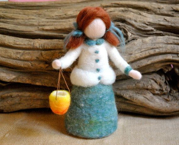 Autumn festival Waldorf inspired needle felted  Martinmas:  The Lantern Girl. Made to order.