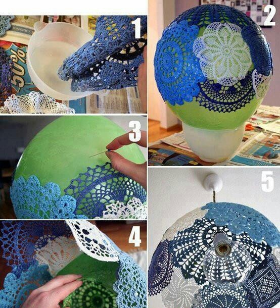 cool lamp shade made with doilies dipped in pva glue