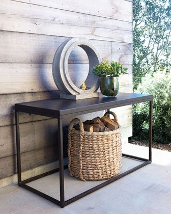 "Industrial Renaissance Outdoor Console at Horchow. Solid aluminum top; extruded aluminum base. Outdoor safe. 52""W x 24""D x 30""T."