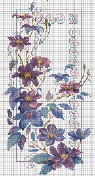Cross stitch - flowers: Clematis (free pattern - chart)