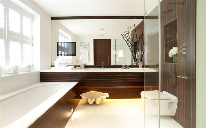 Download wallpapers bathroom interior, modern design, brown wood panels, wood tile, bathroom, stylish design
