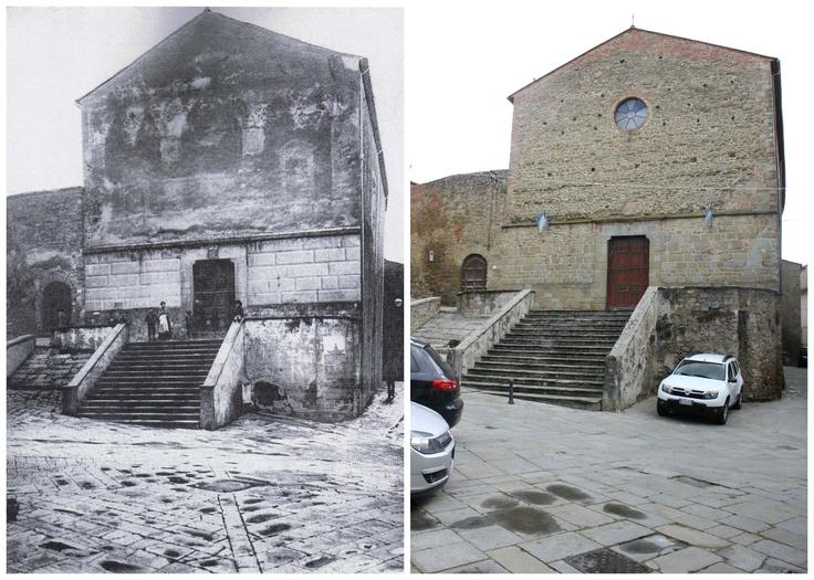La Chiesa di S.Agostino con la vecchia facciata intonacata ed affrescata in una cartolina del primo ventennio del'900 (Collezione P.Fusi) S.Agostino oggi con la facciata in pietra.