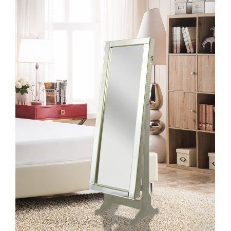 Chic Home Daze Modern Contemporary Mirror Border Rectangular Jewelry Armoire Cheval Mirror, Full-length Royal Champagne, Beige