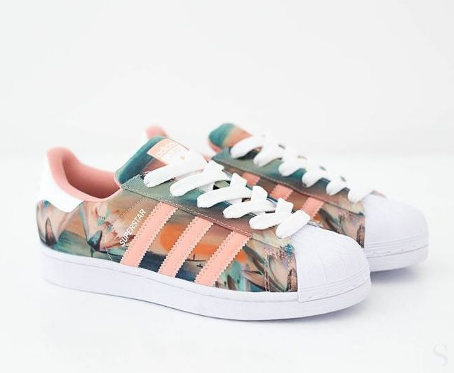 Adidas Superstar Blue Floral