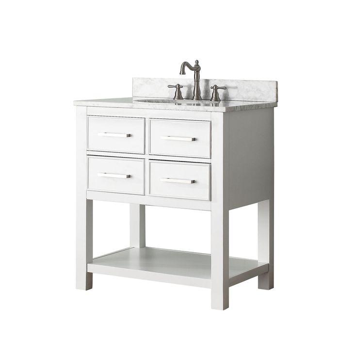 Shop Avanity Brooks White Undermount Single Sink Bathroom Vanity With Natural Marble Top Common