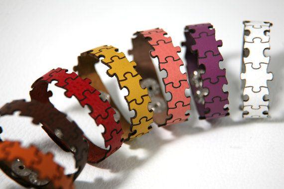 Puzzle laser cut leather bracelet by RockBodyLeather on Etsy, $18.00