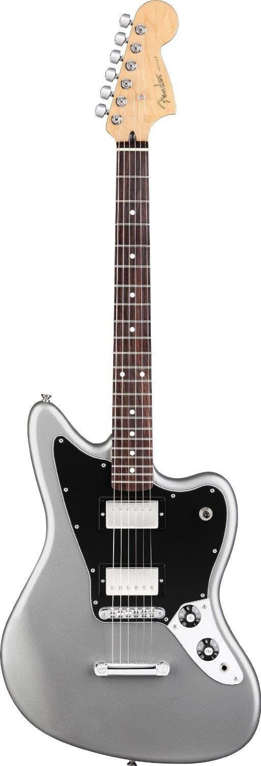 """Fender Blacktop(TM) Jaguar® HH Electric Guitar, Black, Rosewood Fretboard. Hot vintage AlNiCo humbucking neck and bridge pickups offer a great range of raw, aggressive tones. A shorter 24"""" scale makes playing large chords, bending strings, and executing fast runs a breeze. Chrome pickup covers and skirted amp knobs offer a modern, more-aggressive look, while a stud-tail-piece and Adjusto-Matic bridge offer great tuning stability during heavy riffing."""