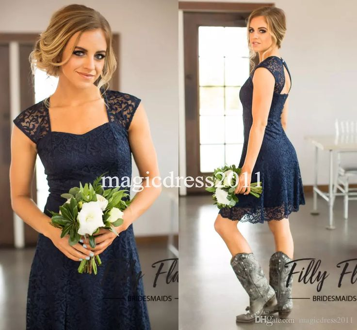 2017 Navy Blue Country Lace Bridesmaid Dresses A-Line Sweetheart Backless Cheap Knee-Length Beach Wedding Gust Dress Maid of Honor Gowns New Bridesmaid Dresses Cheap Bridesmaid Dresses Long Maid of Honor Dress Online with $93.0/Piece on Magicdress2011's Store | DHgate.com