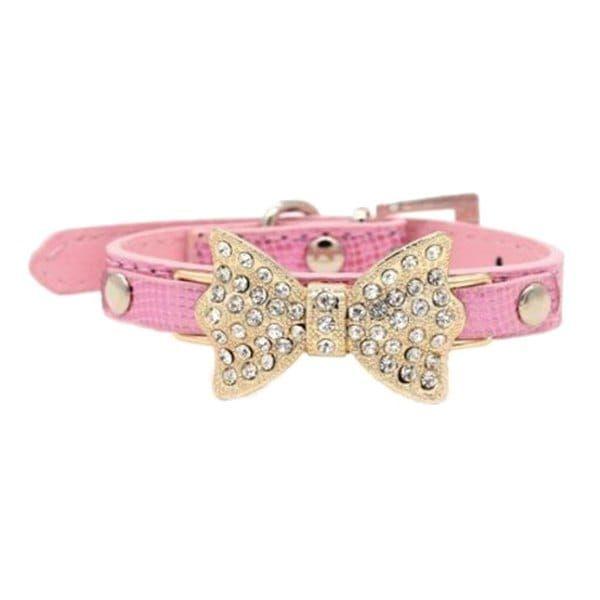 Chic Quality Golden Rhinestone Bow Decor PU Leather Adjustable Dog Collars - PINK XS