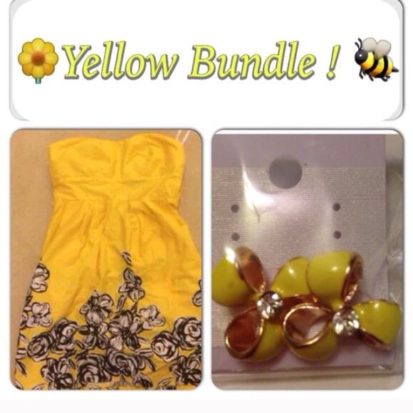 Yellow dress & earring bundle alyn paige yellow dress.                                                  ($59 retail) NEW WITH TAGS Dress size 6   & earrings  Brand: boutique item / Alyn Paige   Featured on sites such as Rent The Runway   Categories: Yellow dress /sale/ MarkedDown/strapless dress / tea party/ garden party/ yellow/ yellow skirt/ cute dress/ mini dress/check out my closet/never worn / boutique item / Alyn Paige / offer /summer dress/ project runway/ Lord & Taylor Alyn Paige…