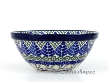 Popular pattern . Bowl 14,5cm . This Handmade Polish Pottery bowl is from ELIMAshop.cz . Boleslawiec . Bunzlau . ceramics . stoneware . blue leaf design .