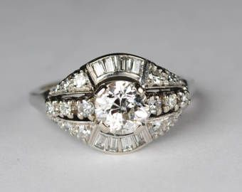 ON SALE 1.50 carat Diamond Art Deco Engagement ring with