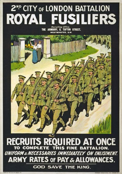 WA3 Vintage WWI British Royal Fusiliers Army War Recruitment Poster WW1 A4[High Quality Matte 180gsm Paper]