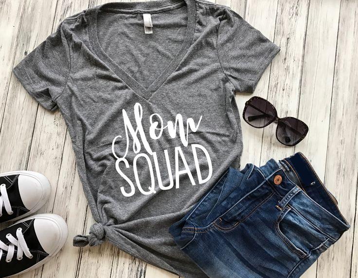 Mom Squad (V-neck), mom squad shirt, mom squad t-shirt, mom shirt, mom life, blessed mama, football mom, baseball mom, mom life shirt