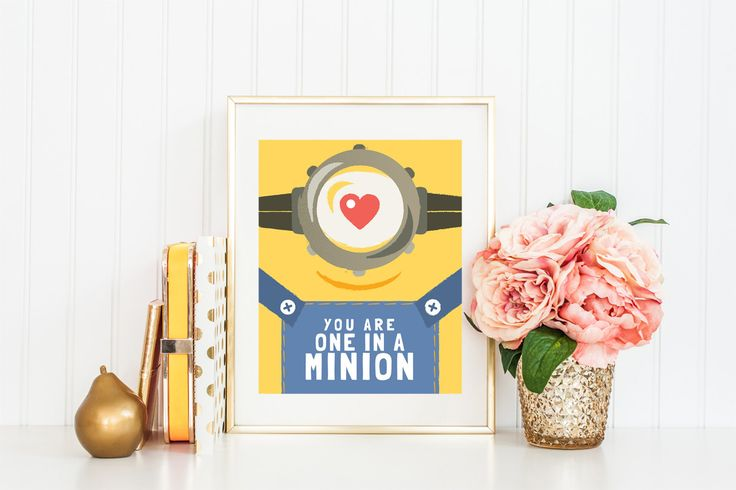 Minion Illustration Quote Print, Wall Decor Digital Printable Art, Print Printable Wall Art Quote Decor, INSTANT DOWNLOAD - PA001 by BellenityDesign on Etsy