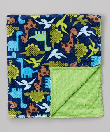 Look what I found on #zulily! 28'' x 32'' Lime Dino Minky Stroller Blanket by Lolly Gags #zulilyfinds
