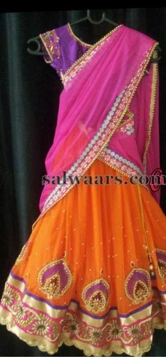 Bright Color Half Saree for Kids   Indian Dresses