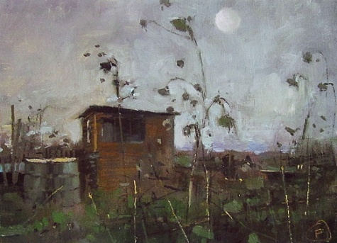 Moonlit Allotment, painting by artist Nigel Fletcher