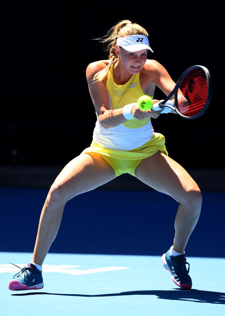 Melbourne Australia January 19 Dayana Yastremska Of Ukraine Plays A Backhand In Her Third Round Match Against Serena Williams Of The United States During D