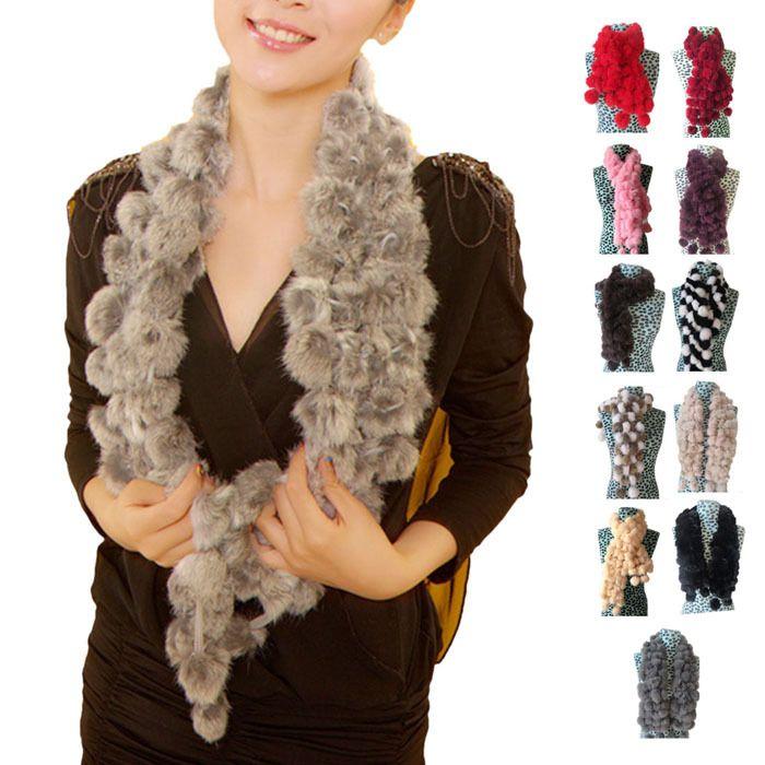 Encontrar Más Bufandas Información acerca de Nuevas mujeres con estilo del invierno imitar bufanda de piel de conejo señora…