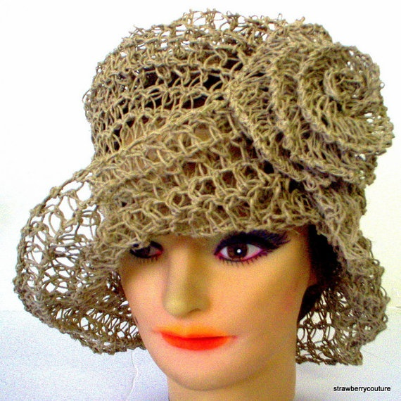 Crushable Crochet Couture Taupe Straw Hemp by strawberrycouture on Etsy $55.00 Ready to Ship