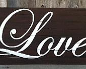 Custom Headboard, Love Print, Personalized Wording or Art on Distressed Wood Slats. $265.00, via Etsy.