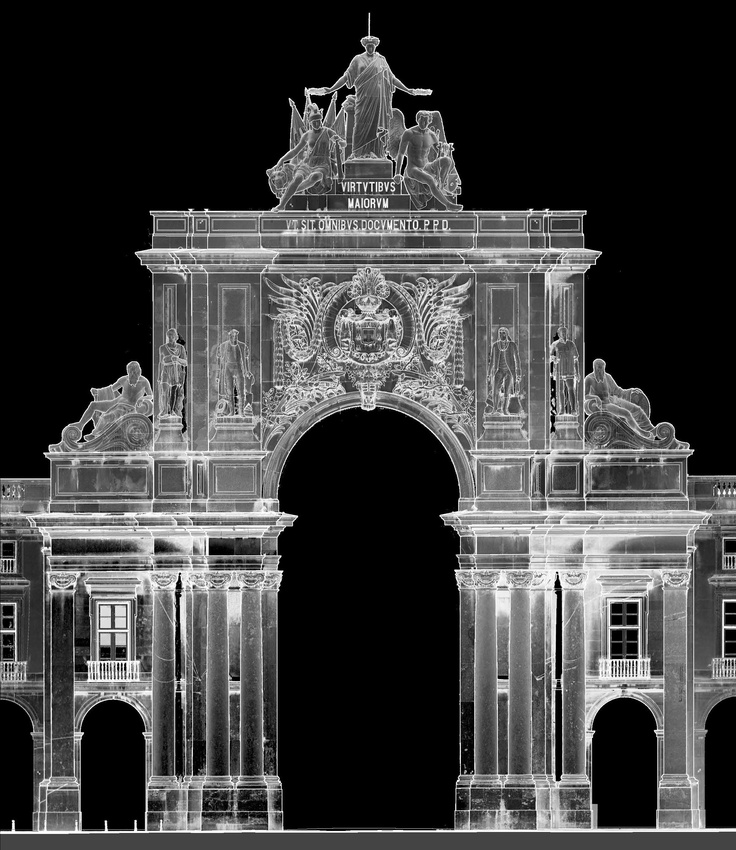 The 3D laser scanning survey of the Arco of Rua Augusta, Lisbon.