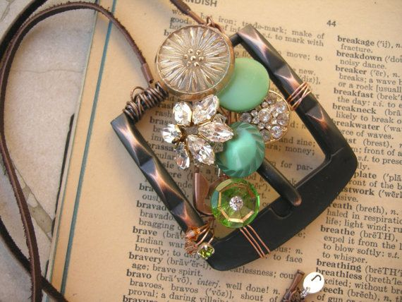 Wire Wrapped Belt Buckle Sparkling Necklace by ARTifactsBYJANIE, $46.99