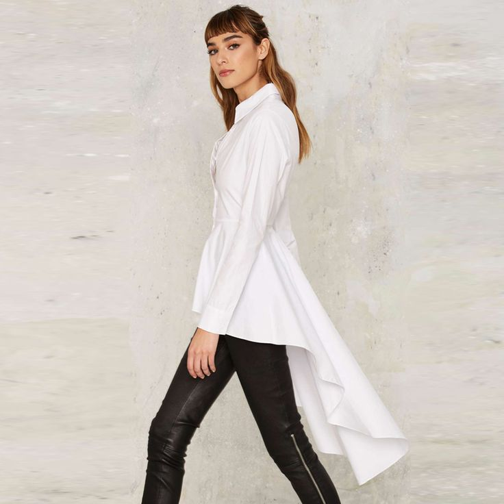 IRISIE Apparel White Casual Single Breasted Blouse Shirt High Low Ruffle Female Shirt Tops Frill Ruched. Click visit to buy #Blouse #Shirt #BlouseShirt