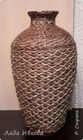 Поделка изделие Плетение Ваза Бумага газетная Трубочки бумажные фото 2