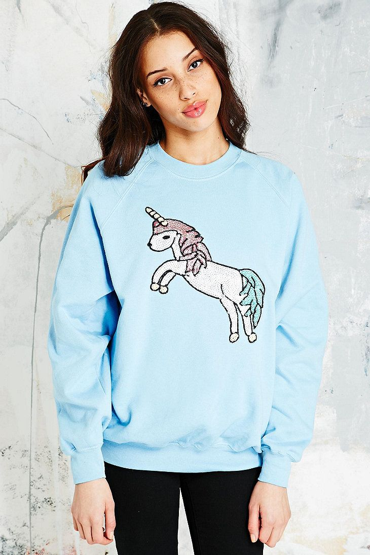 Vintage Renewal Unicorn Sweatshirt in Light  Blue: