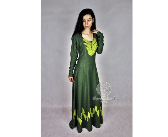 """Linen dress, fantasy medieval gown chemise kirtle gown , Siggy """" Vikings """"…"""