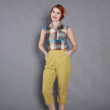 60s High Waisted CHARTREUSE CAPRI PANTS / Early 1960s Rockabilly ...