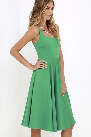 Making Memories Green Midi Dress at Lulus.com!