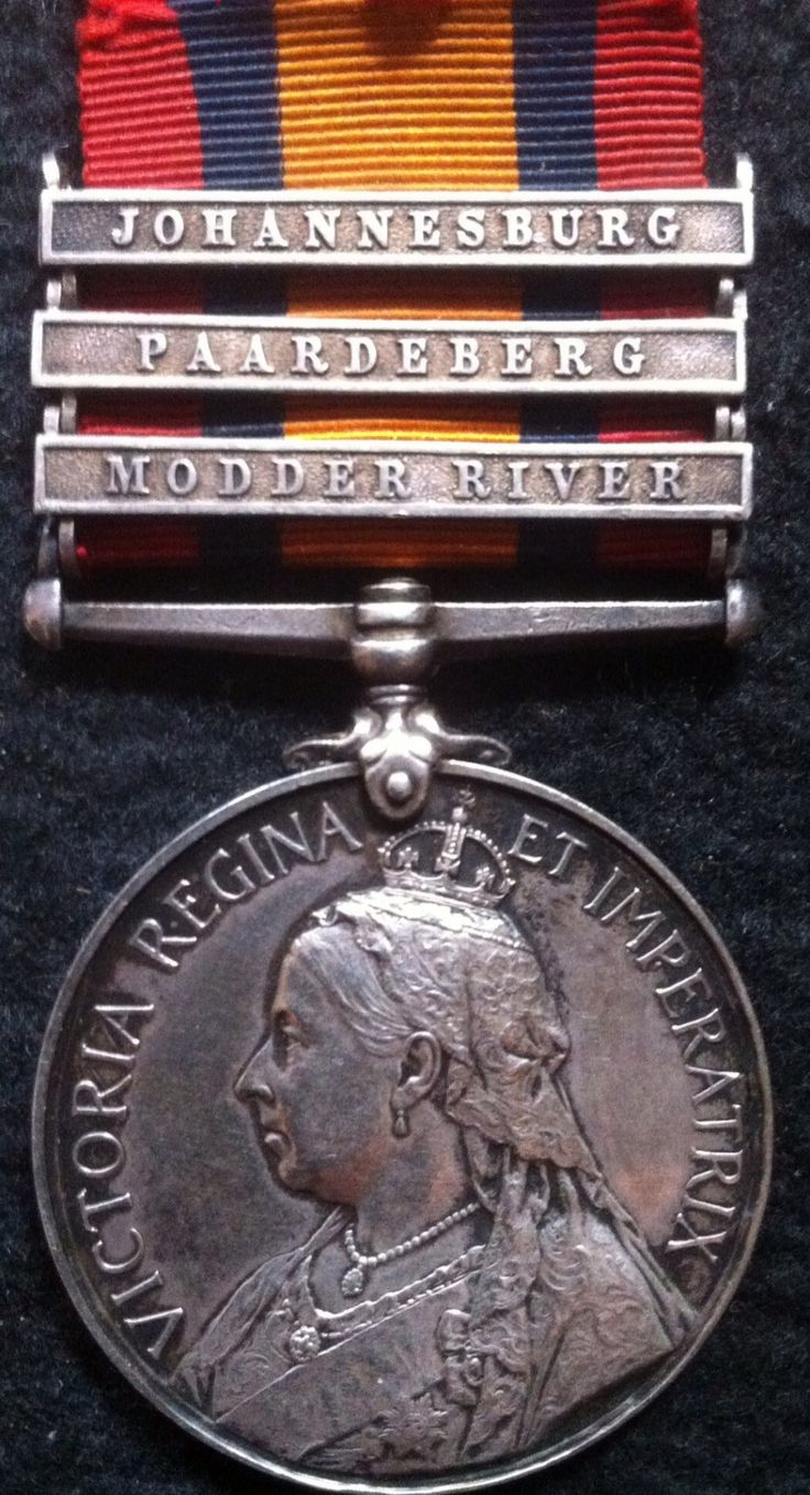 Queen's South Africa Medal, with 3 bars - MODDER RIVER, PAARDEBERG. JOHANNESBURG