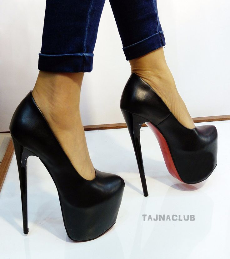 Faux Black Leather 17 cm High Heel Shoes