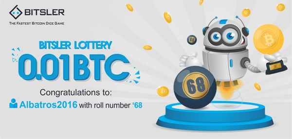 Winning roll number: 68. Congratulations to user Albatros2016 who won 0.01 Ƀitcoin!